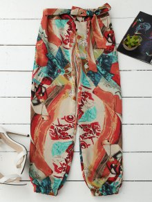 Tie Front Abstract Print Beach Pants
