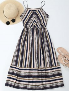 Elastric Waist Multi Stripes Sundress