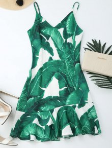 Tropical Print Ruffle Slip Summer Dress - Green L
