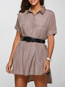 High Low Half Sleeve Shirt Dress