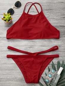 High Neck V Strap Thong Bikini Set - Red S
