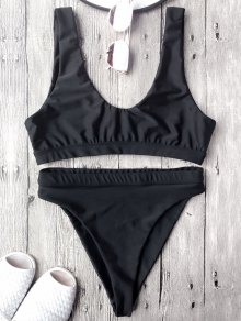 High Cut Scoop Front Bikini Set - Black