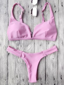 Padded Plunge High Cut Bikini Set