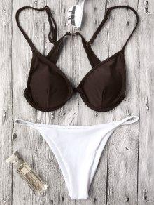 Push Up Plunge String Bikini Set - White And Coffee