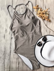 Open Back High Neck One Piece Swimsuit - Khaki L