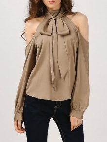 Cold Shoulder Blouse With Silk Scarf - Khaki