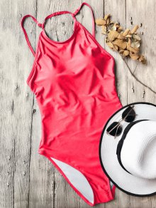 Open Back High Neck One Piece Swimsuit - Red S