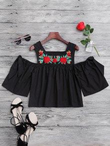 Floral Sequined Cold Shoulder Top - Black L