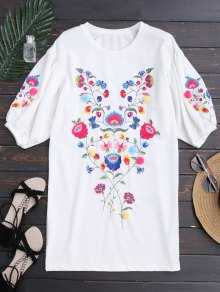 Dolman Sleeve Floral Embroidered Straight Dress