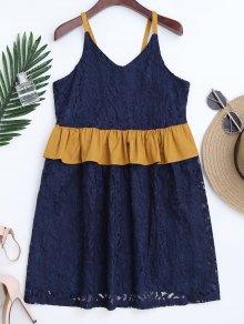 Color Block Ruffles Lace Dress - Purplish Blue