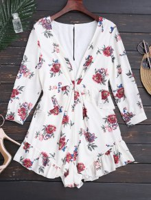 Plunge Ruffles Floral Romper