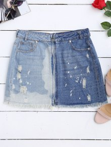 Cutoffs Ripped Denim Skirt - Denim Blue L