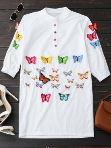 Embroidered Butterfly Tunic Shirt Dress - White Xl