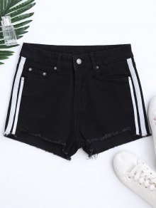 Color Block Cutoffs Shorts - Black S