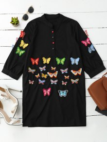 Embroidered Butterfly Tunic Shirt Dress