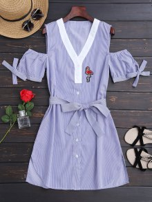 Belted Stripes Shirt Dress