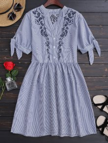 Stripes Embroidered Casual Dress - Stripe M