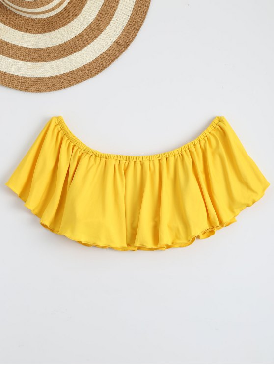 latest Off Shoulder Ruffle Cropped Top - YELLOW S