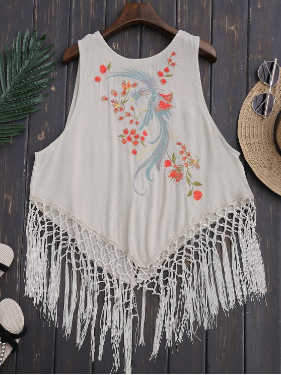 sale Fringed Embroidered Tank Top - LIGHT BEIGE S