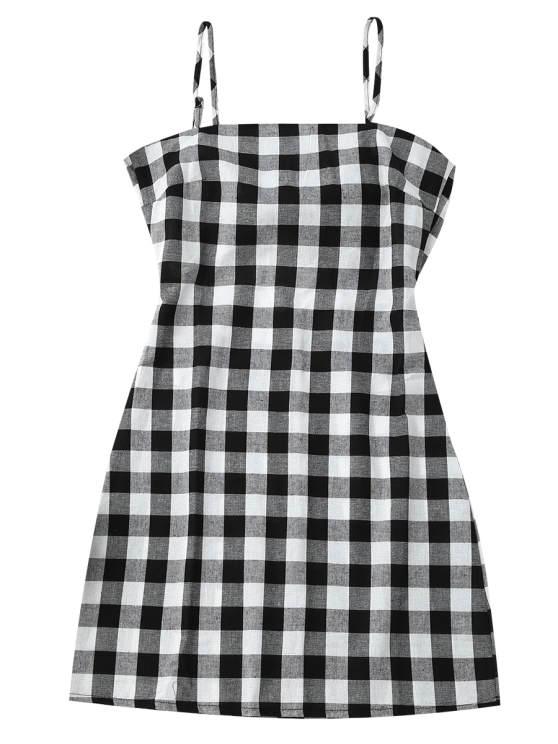 Slip Tie Back Plaid Dress - BLACK WHITE M Mobile