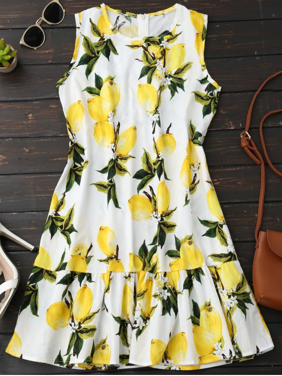 trendy Sleeveless Lemon Ruffle Dress - YELLOW L