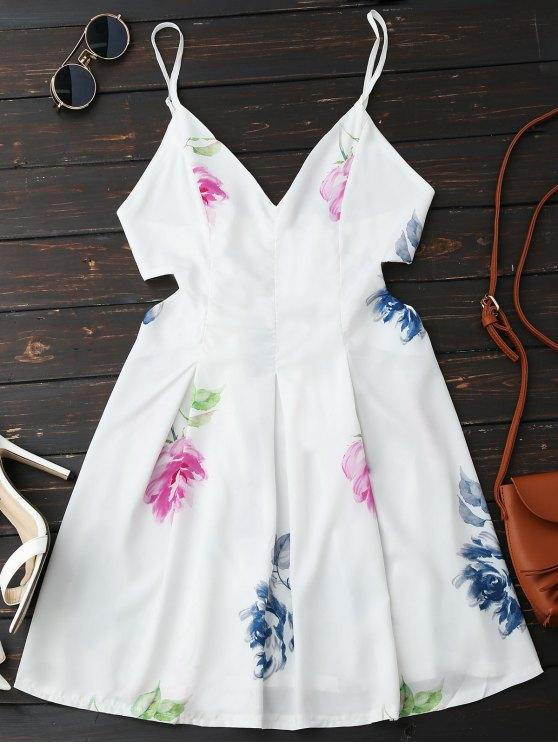 Vestido de corte sin espalda Floral - Blanco XL