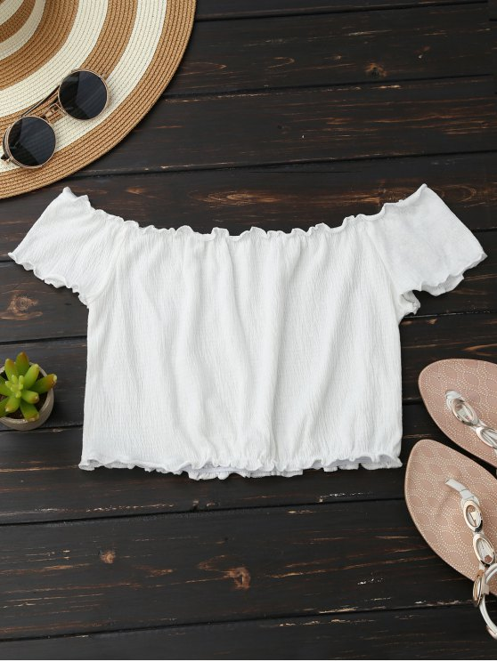 fashion Off Shoulder Crushed Cropped Top - WHITE XL