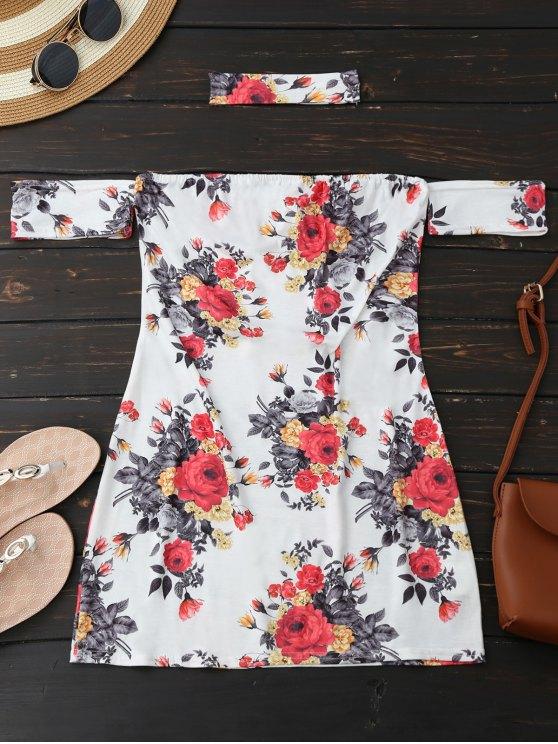 affordable Choker Floral Bodycon Mini Tube Dress - WHITE XL