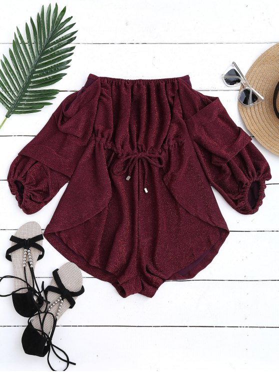 Glittered Off The Shoulder Romper - Rouge vineux  L