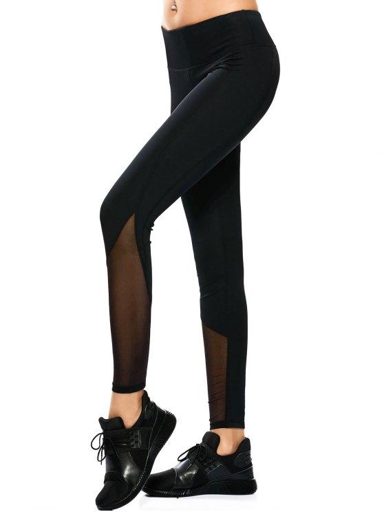 Mesh Panel Skinny Yoga Leggings - BLACK S Mobile