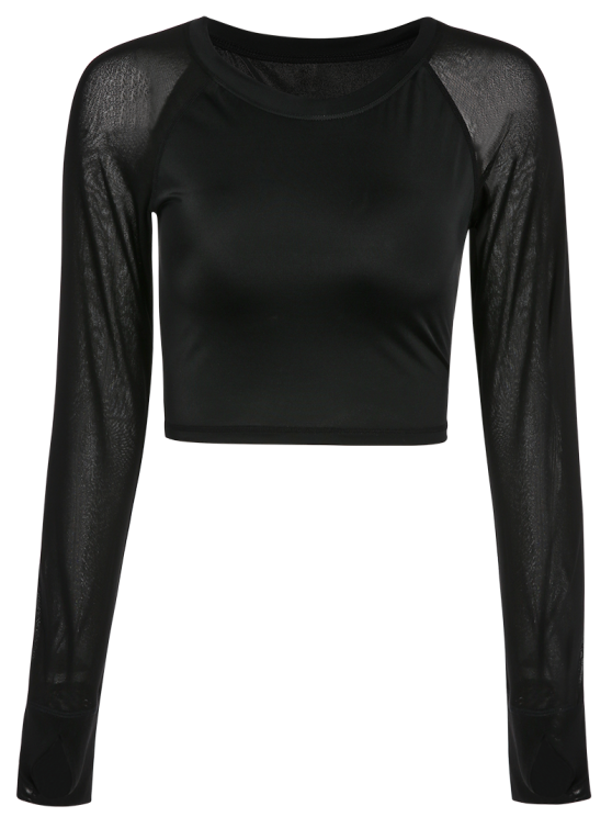 Mesh Panel Cropped Sporty Thumbhole Top - BLACK M Mobile