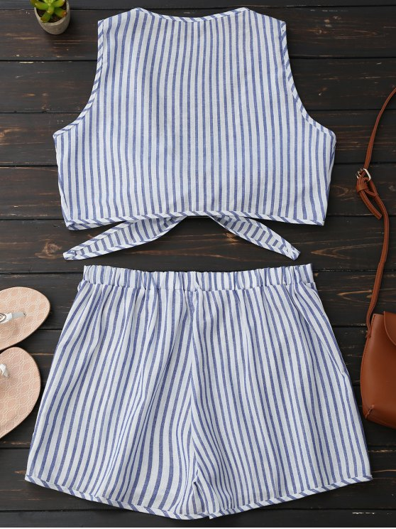 Plunge Striped Front Tied Top with Shorts - BLUE STRIPE S Mobile