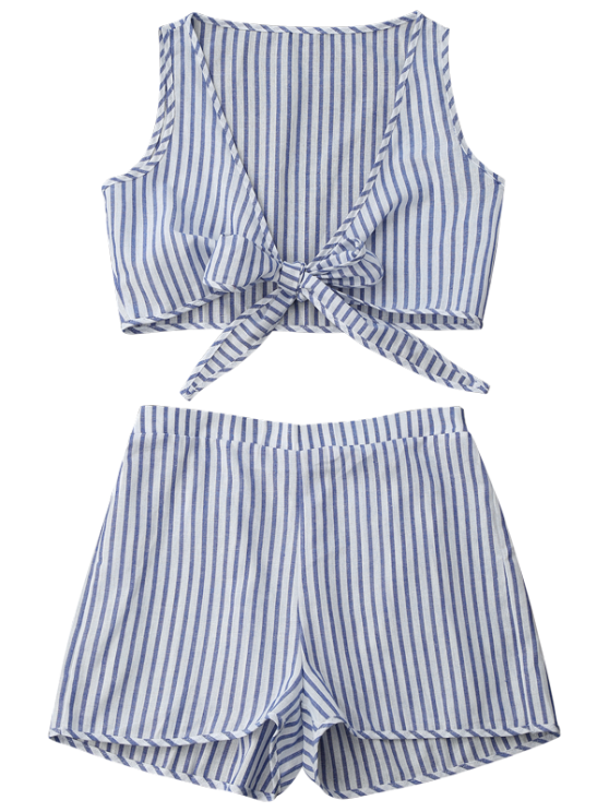 Plunge Striped Front Tied Top with Shorts - BLUE STRIPE M Mobile