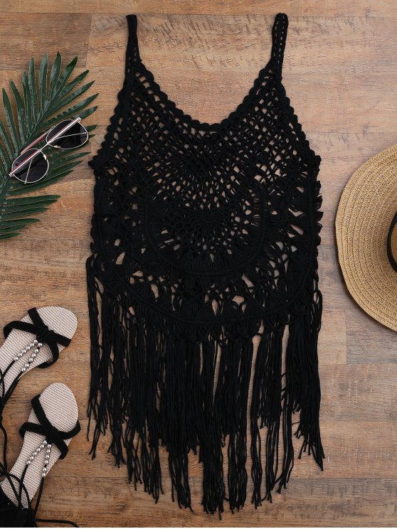Tasselled Crochet Tank Top Cover Up - BLACK ONE SIZE Mobile