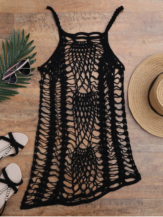 Crochet Beach Slip Dress Cover Up - BLACK ONE SIZE Mobile
