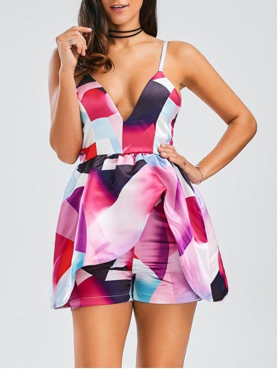 Cami Layered Printed Romper - Multicolore 2XL