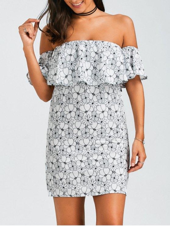 hot Floral Ruffles Off The Shoulder Mini Dress - FLORAL XL