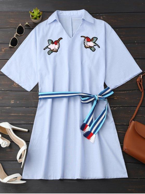 Rhinestone Aves Camisa Vestido Con Cinturón - Azul claro M