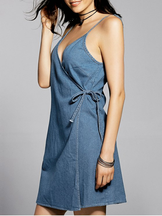 fashion Blue Cami A Line Denim Dress - BLUE XL