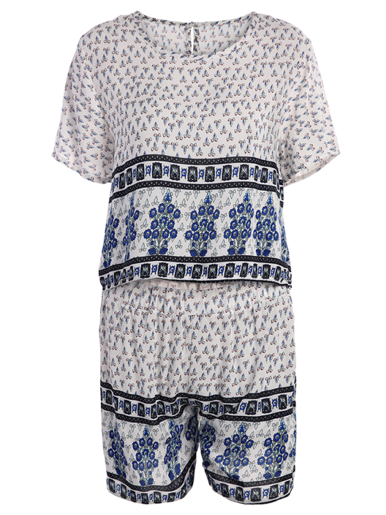 Cropped Short Sleeve Printed T-Shirt and Shorts Twinset - WHITE XL Mobile