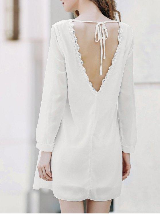 Solide Col Rond Couleur Robe en mousseline de soie à manches longues - Blanc L