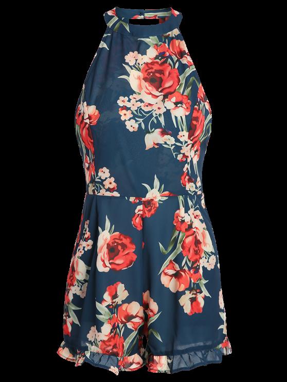 Floral Print Open Back Romper - CADETBLUE XL Mobile