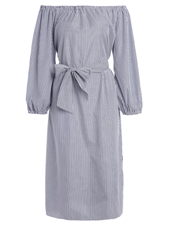 Blouson Sleeve Off The Shoulder Dress - BLUE AND WHITE XL Mobile