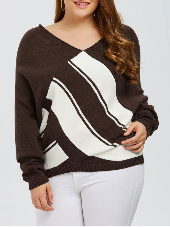 Color Block Plus Size V Neck Sweater - COFFEE 4XL Mobile