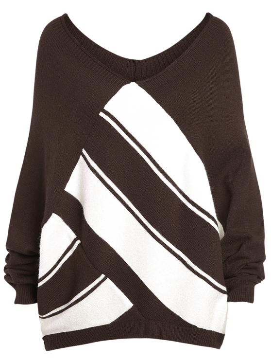 Color Block Plus Size V Neck Sweater - COFFEE 3XL Mobile