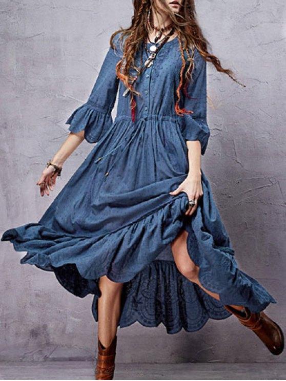 womens Frayed Lace Inset Midi Dress - BLUE S