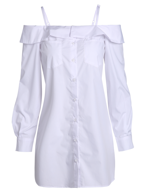Cold Shoulder Button Up Blouse - WHITE 2XL Mobile
