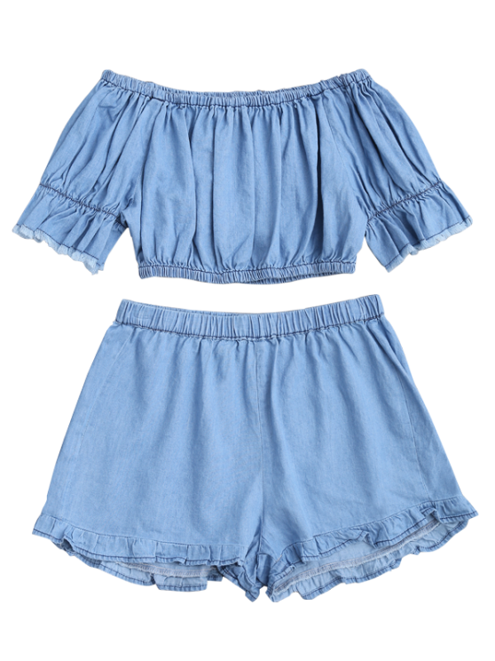 Off The Shoulder Cropped Top and Ruffles Shorts - BLUE S Mobile