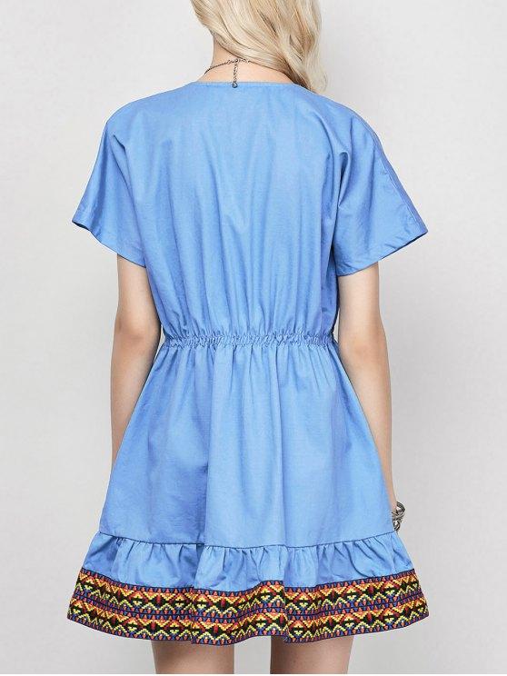 Embroidered Plunging Neckline Dress - BLUE L Mobile