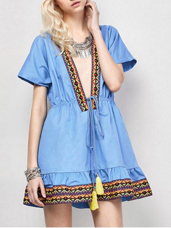 trendy Embroidered Plunging Neckline Dress - BLUE M